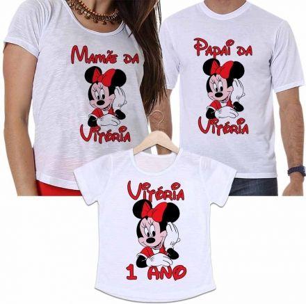 Camisetas Personalizadas Aniversário Tal Pai, Tal Mãe e Tal Filha Minnie Divertida