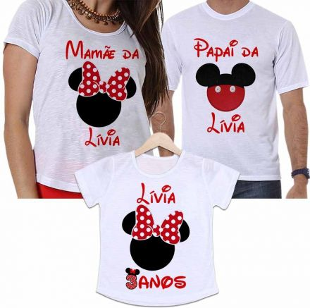 Camisetas Personalizadas Aniversário Tal Pai, Tal Mãe e Tal Filha Minnie Festa Infantil