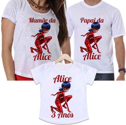 Camisetas Personalizadas Aniversário Tal Pai, Tal Mãe e Tal Filha Miraculous