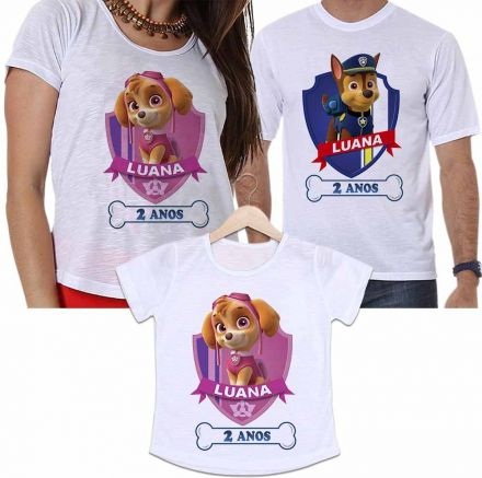 Camisetas Personalizadas Aniversário Tal Pai, Tal Mãe e Tal Filha Patrulha Canina