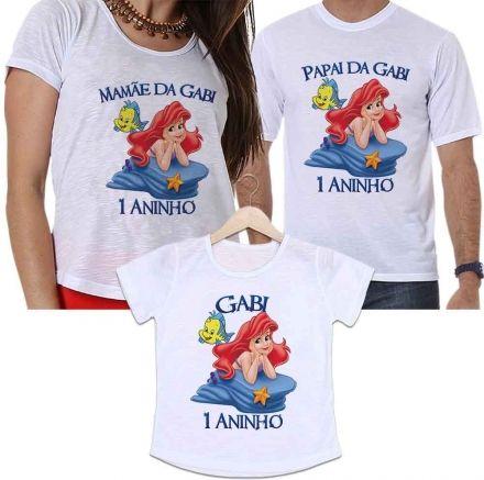 Camisetas Personalizadas Aniversário Tal Pai, Tal Mãe e Tal Filha Pequena Sereia