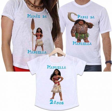 Camisetas Personalizadas Aniversário Tal Pai, Tal Mãe e Tal Filha Princesa Moana