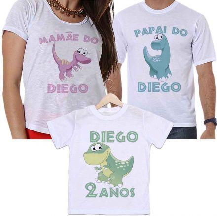 Camisetas Personalizadas Aniversário Tal Pai, Tal Mãe e Tal Filho Dinossauros