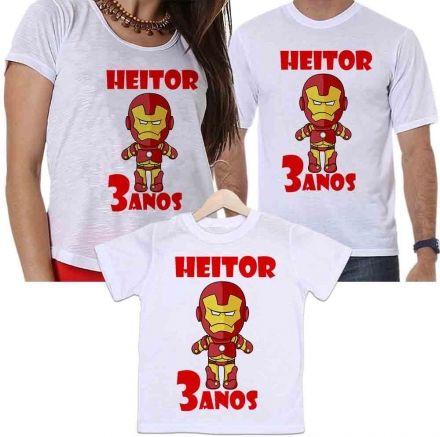 Camisetas Personalizadas Aniversário Tal Pai, Tal Mãe e Tal Filho Homem de Ferro