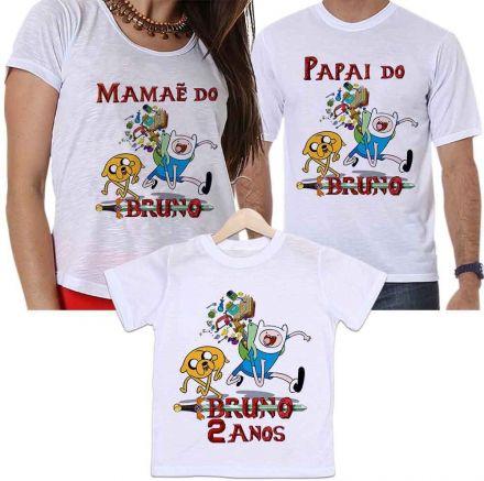 Camisetas Personalizadas Aniversário Tal Pai, Tal Mãe e Tal Filho Hora de Aventura