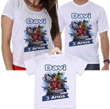 Camisetas Personalizadas Aniversário Tal Pai, Tal Mãe e Tal Filho Os Vingadores