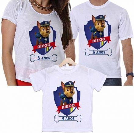Camisetas Personalizadas Aniversário Tal Pai, Tal Mãe e Tal Filho Patrulha Canina