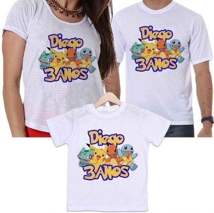 Camisetas Personalizadas Aniversário Tal Pai, Tal Mãe e Tal Filho Pokemon
