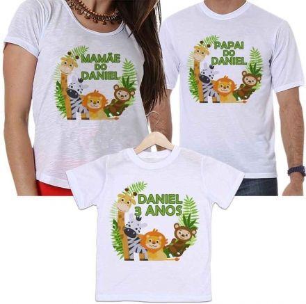 Camisetas Personalizadas Aniversário Tal Pai, Tal Mãe e Tal Filho Safari Animais