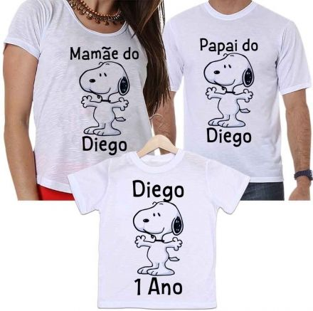 Camisetas Personalizadas Aniversário Tal Pai, Tal Mãe e Tal Filho Snoopy