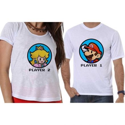 Camisetas Super Mário Bross Player 1 e Player 2 Geek