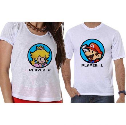 Camisetas Super Mário Bross Player 1 e Player 2 Geek