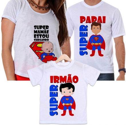 Camisetas Super Pai, Super Mãe Gestante e Super Filho