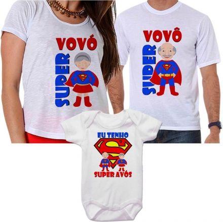 Camisetas Super Vovô, Super Vovó e Super Neto
