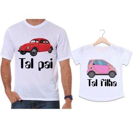 Camisetas Tal Pai Tal Filha Carro Fusca Vermelho