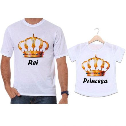 Camisetas Tal Pai Tal Filha Coroa Dourada Rei e Princesa