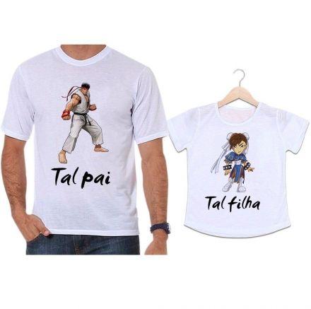 Camisetas Tal Pai Tal Filha Luta Street Fighter Ryu e Chun li
