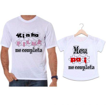 Camisetas Tal Pai Tal Filha Quebra Cabeça Minha Filha Me Completa