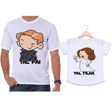 Camisetas Tal Pai Tal Filha Star Wars Han Solo e Princesa Leia