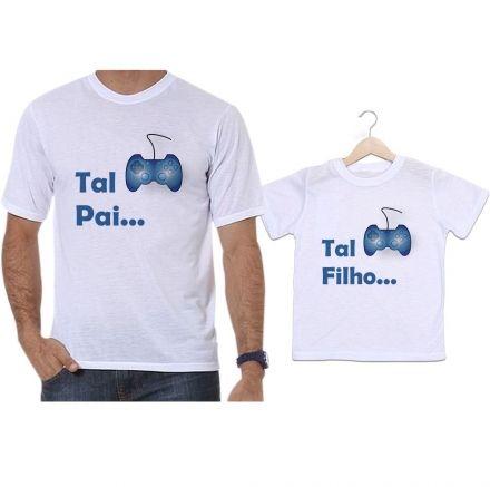Camisetas Tal Pai Tal Filho Controle Azul Vídeo Game