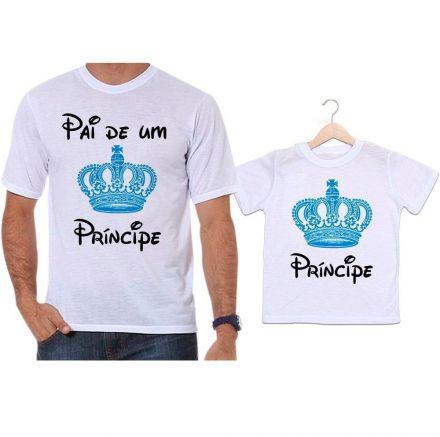 Camisetas Tal Pai Tal Filho Coroa Azul Pai de Um Príncipe