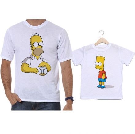 Camisetas Tal Pai Tal Filho Homer e Bart Simpsons Chopp
