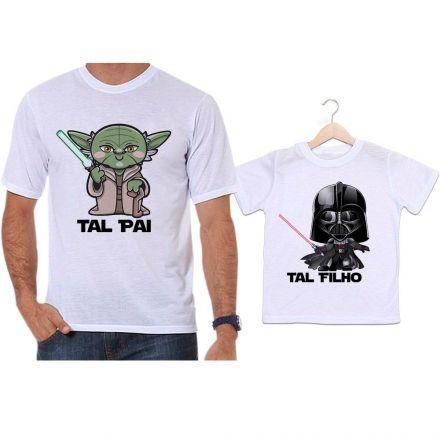 Camisetas Tal Pai Tal Filho Star Wars Mestre Yoda e Darth Vader