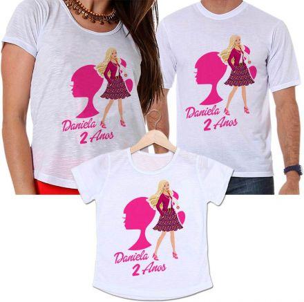 Camisetas Tal Pai, Tal Mãe e Tal Filha Aniversário Personalizada Barbie