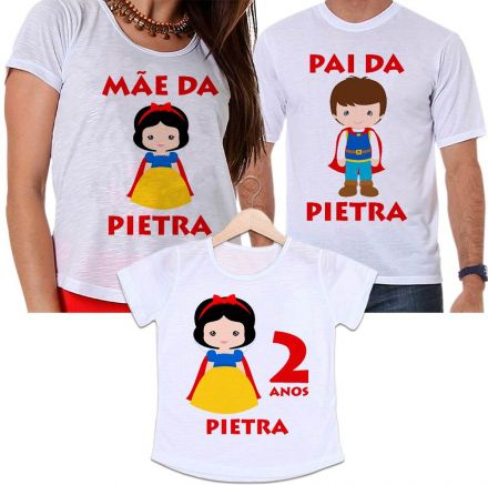 Camisetas Tal Pai, Tal Mãe e Tal Filha Aniversário Personalizada Branca de Neve