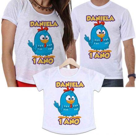 Camisetas Tal Pai, Tal Mãe e Tal Filha Aniversário Personalizada Galinha Pintadinha
