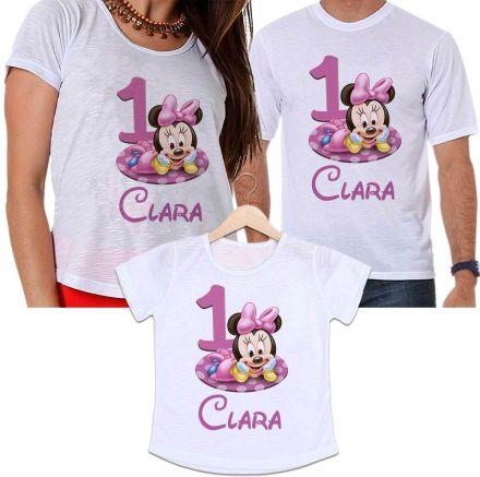 Camisetas Tal Pai, Tal Mãe e Tal Filha Aniversário Personalizada Minnie
