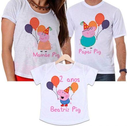 Camisetas Tal Pai, Tal Mãe e Tal Filha Aniversário Personalizada Peppa Pig