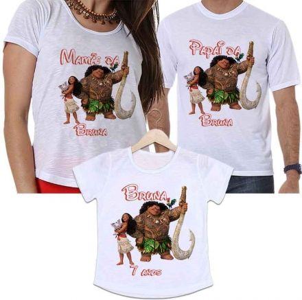 Camisetas Tal Pai, Tal Mãe e Tal Filha Aniversário Personalizada Princesa Moana