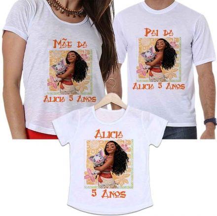 Camisetas Tal Pai, Tal Mãe e Tal Filha Aniversário Personalizada Princesa Moana Festa Infantil