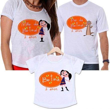 Camisetas Tal Pai, Tal Mãe e Tal Filha Aniversário Personalizada Show da Luna Festa Infantil