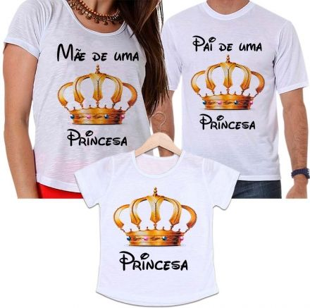 Camisetas Tal Pai, Tal Mãe e Tal Filha Coroa Dourada - Mãe e Pai de Uma Princesa