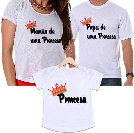 Camisetas Tal Pai, Tal Mãe e Tal Filha Coroa Dourada - Mamãe e Papai de Uma Princesa