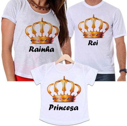 Camisetas Tal Pai, Tal Mãe e Tal Filha Coroa Dourada Rei, Rainha e Princesa