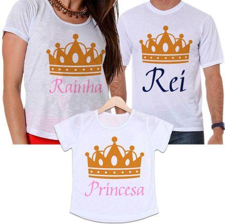 Camisetas Tal Pai, Tal Mãe e Tal Filha Coroa Dourada Rei, Rainha e Princesa Família