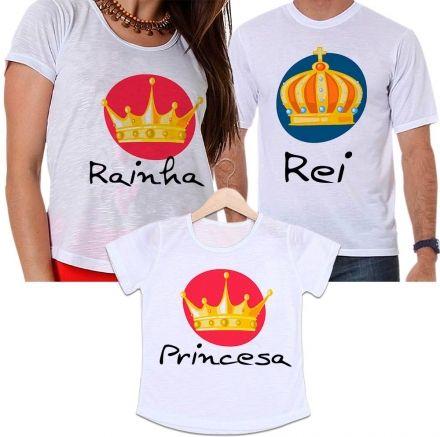 Camisetas Tal Pai, Tal Mãe e Tal Filha Coroa Rei, Rainha e Princesa Família