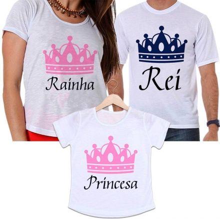Camisetas Tal Pai, Tal Mãe e Tal Filha Coroa Rosa e Azul - Rei, Rainha e Princesa