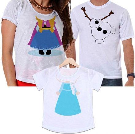 Camisetas Tal Pai, Tal Mãe e Tal Filha Frozen - Olaf, Anna e Elsa