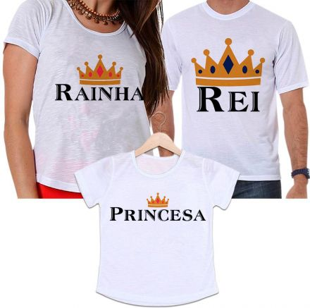Camisetas Tal Pai, Tal Mãe e Tal Filha Rei, Rainha e Princesa Família