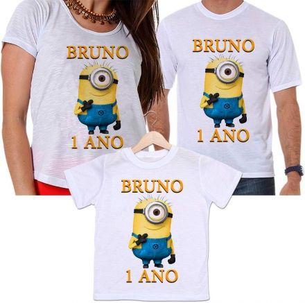 Camisetas Tal Pai, Tal Mãe e Tal Filho Aniversário Filme Minions Personalizada