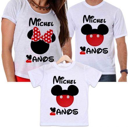 Camisetas Tal Pai, Tal Mãe e Tal Filho Aniversário Mickey e Minnie Personalizada