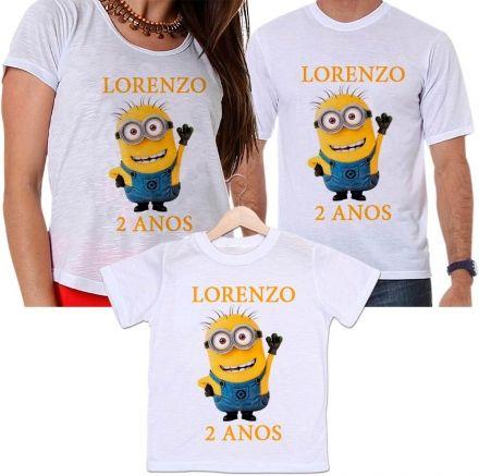 Camisetas Tal Pai, Tal Mãe e Tal Filho Aniversário Minions Personalizada