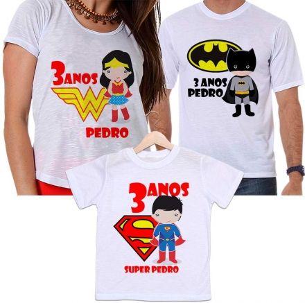 Camisetas Tal Pai, Tal Mãe e Tal Filho Aniversário Personalizada Batman, Mulher Maravilha e Super Homem