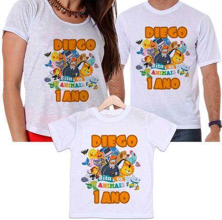 Camisetas Tal Pai, Tal Mãe e Tal Filho Aniversário Personalizada Bita E Os Animais