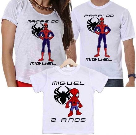 Camisetas Tal Pai, Tal Mãe e Tal Filho Aniversário Personalizada Homem Aranha