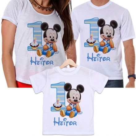 Camisetas Tal Pai, Tal Mãe e Tal Filho Aniversário Personalizada Mickey Baby